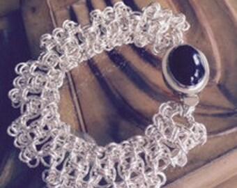 Argentium Sterling Silver Chain Maille Squares Bracelet