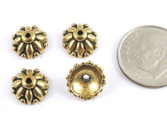 TierraCast Pewter Bead Caps-Antique Gold Dharma 10mm (4 Pieces)