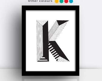 Letter K print - hand drawn typeface