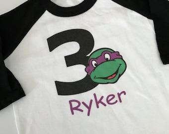 Teanage Mutant Ninja Turtle Birthday Raglan Shirt - TNMT Birthday Shirt - Turtle Birthday Shirt - Donatello Birthday Shirt