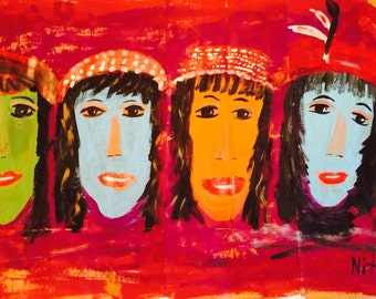 LADIES FACES in a ROW original painting---- marked 1/2 off