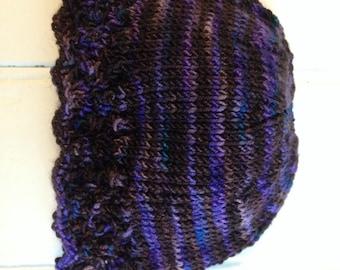Purple Brown Lacy Hat - Newborn Size