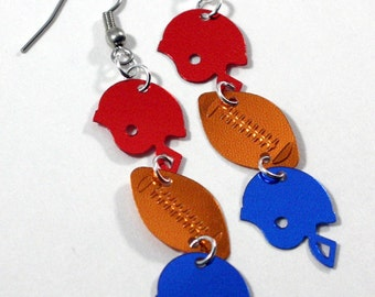 Football Earrings Red & Blue Sport Football Helmets Dangles Plastic Sequin Jewelry
