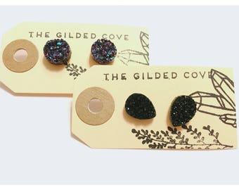 Pear Noir — druzy black acrylic synthetic elegant, faux fake gauge, small minimalist druze for her black tear drop Nashville