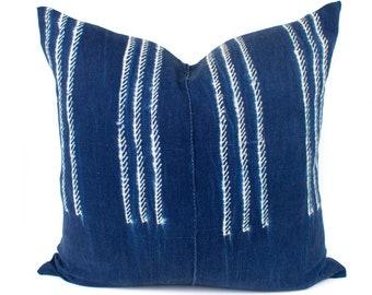 Vintage African Indigo Pillow Cover, Blue & White African Mud Cloth, Authentic Mudcloth Pillow Cover | 20x20 | 'Sadie'