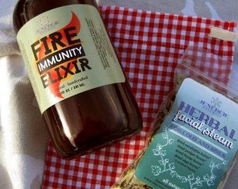 Fire Immunity Elixir plus Cold & Sinus Steam Pack /// Organic Ingredients ///  Flu Season Immune Booster, Steam away  Sinus Congestion