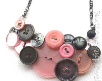 Big Light Pink and Gray Vintage Button Bib Necklace -  Clearance Sale Button Jewelry
