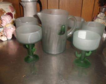 vintage satin glass margarita glasses pitcher set cactus barware