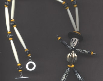 Day of the Dead Skeleton Handmade Necklace