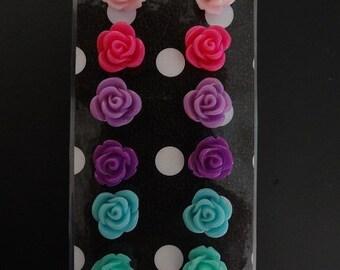 Pastel Rose Earring Set