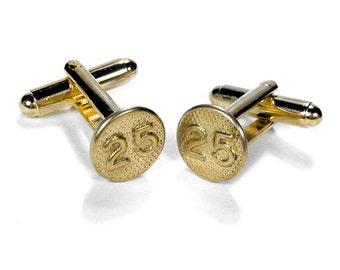 Steampunk Cufflinks, Mens RARE Brass Cufflinks, Date Nail Tacks 1925 Anniversary Fathers Day, Groom Wedding, Birthday - Steampunk Boutique
