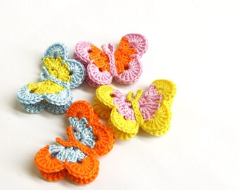 "Butterfly Appliques, 2"" wide, colorful mix - blue, orange, yellow, lavender"
