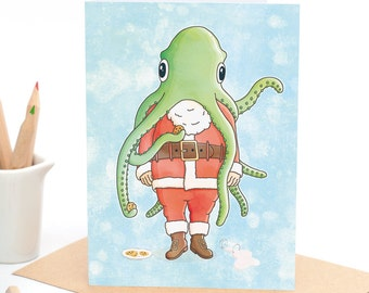 Santa with Octopus - Greeting card