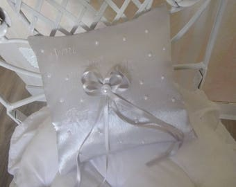wedding ring pillow cushion in silver grey satin ribbon and embroidery