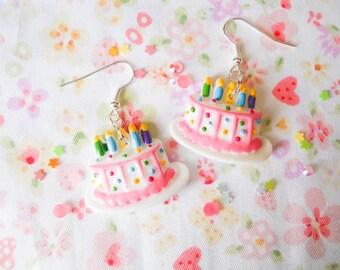 Birthday Earrings, Birthday Cake Earrings, Kawaii Earrings, Cake Earrings, Food Earrings, White Cake, Pink Cake, Sweet Lolita, Birthday