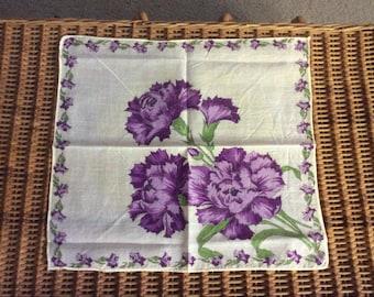 Purple Carnations Hankie Hanky BEAUTIFUL Handkerchief Vintage