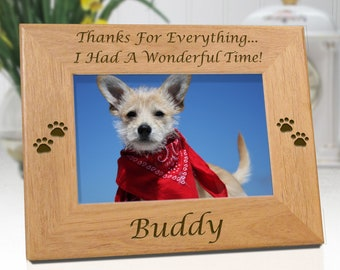 Dog Memorial Personalized Picture Frame - Thanks For Everything - Free Sympathy Card - Fast Ship