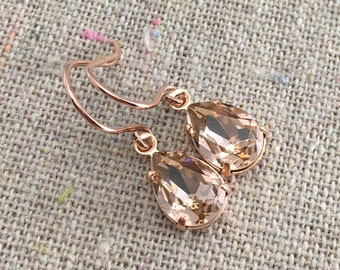 Swarovski Crystal Blush Pink Teardrop Simple Delicate Dangling Rose Gold Bridal Earrings Wedding Jewelry Bridesmaids Gifts Flower Girl Gifts
