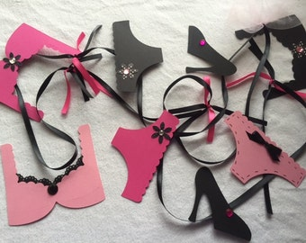 Pink and Black Lingerie Bachelorette Party Bridal Shower Decoration Banner, Girl's Night Out