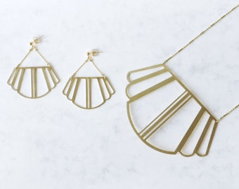 COLETTE_Geometric Art Deco/Gatsby style brass earrings