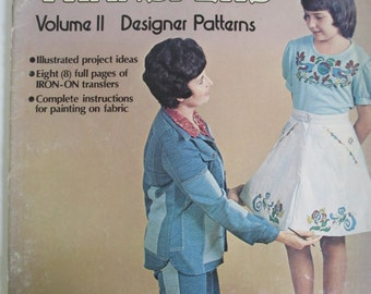 "Vintage Craft Booklet of "" Fabric Painting Transfers'""   How to booklet 1975   used"