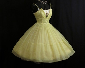 Vintage 1950's 50s Cupcake Lemon Yellow Chiffon Organza Floral Applique Party Prom Wedding Dress