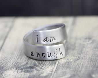 Hand crafted stamped wrap ring, custom engraved ring, wrap ring, personalized ring, Argentium silver or Aluminum
