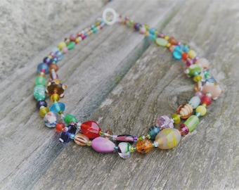 Bohemain Festival Happiness Rainbow Double Layererd Glass Bead Statement Necklace One-of-a-kind