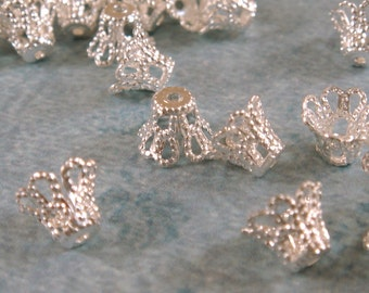25 Silver Basket Bead Caps Silver Plated Filigree 7mm Findings - 25 pc - 1116-10