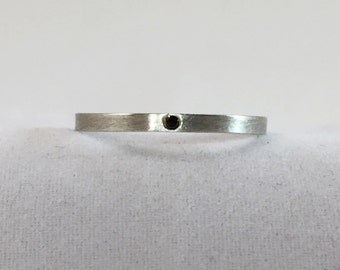 Black Diamond Ring, Sterling Silver Diamond Rind, Stacking Ring, Wedding Band