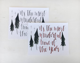 Most Wonderful Time of the Year // 10x8 Handlettered Art Print // Holiday Decor