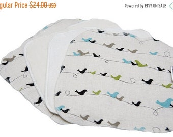 Spring Sale Woodhaven Birds Flannel - Set of 16 wipes - flannel and OBV - SOFT - 8x8 size