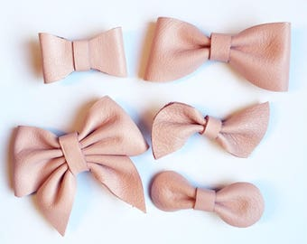 Pink Leather Hair Bow Clip, barrette, baby clip, nylon headband, blush, light pink