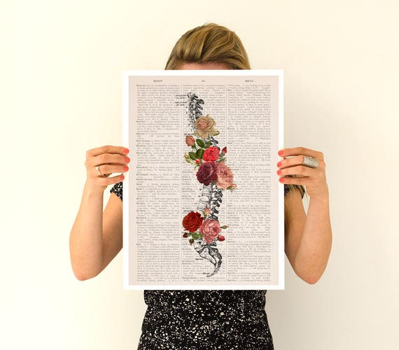 Springtime Spine, anatomical art, anatomy art, wall art, wall decor, poster,anatomy poster,roses poster, vertebrae art, spine art  SKA137PA3