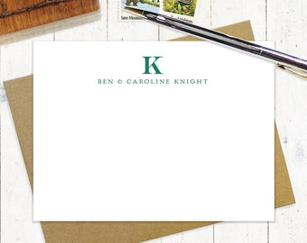 personalized note card stationery set - PROFESSIONAL MONOGRAM - set of 12 flat cards - stationary - business - monogrammed