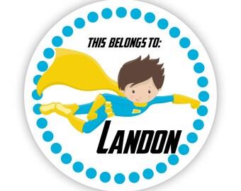 Kids Superhero Stickers - Blue Polka Dot, Blue Yellow Super Hero, Superhero Personalized Name Label Stickers - Back to School Name Labels