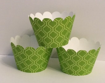 Green & Yellow Design Cupcake Wrappers, Party decorations, cupcake holders, party supplies, cupcake wraps, cupcake sleeves, paper goods