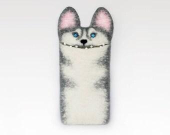 Husky dog iPhone 7 case,  iPhone 7 Plus,  felt sleeve, eco friendly phone cases, handmade gift