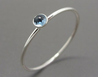 3mm Tiny Rose Cut Blue Topaz Stacking Ring in Sterling Silver - Super Thin Micro Stacker with Smooth or Hammered Band