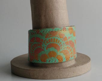 Leather Cuff Hand Painted Bracelet with Flower mint and orange leather bracelet leather cuff upcycled belt bracelet belt cuff upcycled cuff