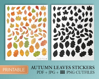 Fall Stickers Leaf Autumn Leaves Stickers Planner Stickers Fall Printable Sticker Orange Cute Stickers Cutfile Inspired By Erin Condren