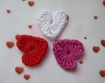 3 small crochet hearts