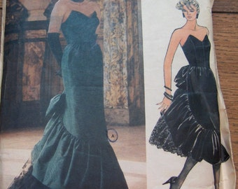 vintage 1986 vogue pattern 1471 Bellville Sassoon evening dress special occasion grad bridesmaid mid-calf evening ruffles sz 10