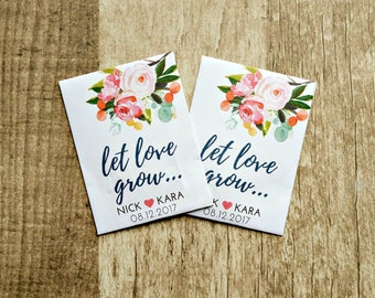 Let Love Grow- Custom Seed Wedding Favors (50 Count) SEALED with SEEDS INCLUDED, Wedding Favors, Elegant Wedding Favors, Summer Favor