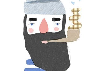 Hamburg Fisherman, downloadable prints, instant download art, printable wall art, cute illustration, wall decor nursery, pipe, beard man