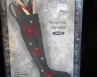 Wool n Whimsy Wool felt stocking kit - Seems Like Christmas