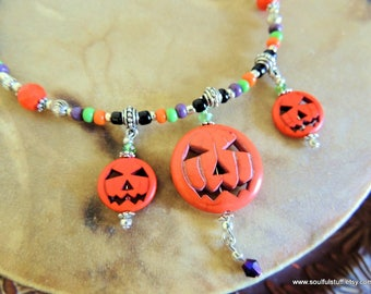 Jack o'Lantern Pumpkin Bib Necklace