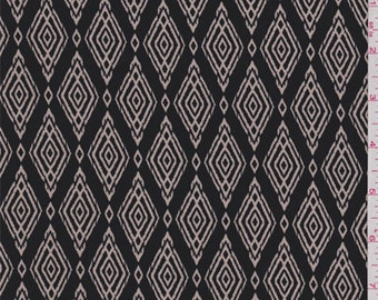 Smoke Black/Ecru Diamond Print Polyester Crepe, Fabric By The Yard