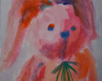 Original ACEO Watercolor Painting: My Bunny No.5