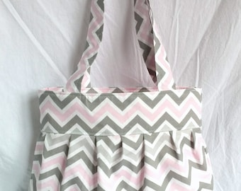 READY to SHIP WATERPROOF lining Chevron diaper bag in pink gray chevron with pink waterproof lining, zipper, flat bottom and bottle pockets